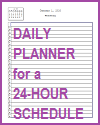Daily Planner for a 24-hour Schedule