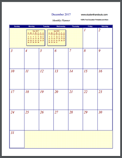 Free Printable Monthly Calendar Sheets