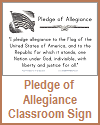 Pledge of Allegiance Classroom Sign in Print or Cursive