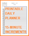 Printable Daily Planner with Office Hours in 15-minute Increments