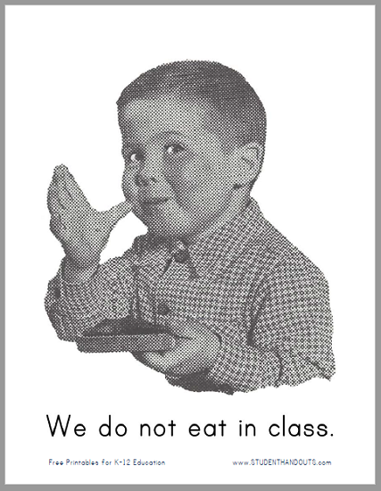 """We do not eat in class."" Printable Classroom Sign"