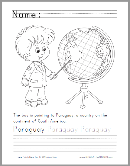 Paraguay on the Globe Coloring Sheet with Handwriting and Spelling Practice