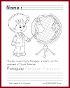Paraguay on the Globe Coloring Sheet