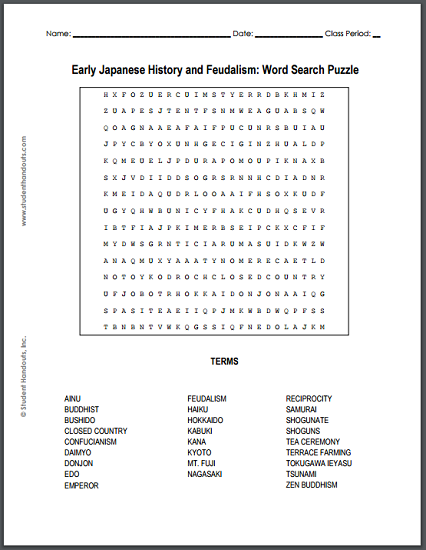 Early Japanese History and Feudalism - Word Search Puzzle ...