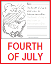 Fourth of July Coloring Page with Writing Practice