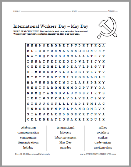 International Workers' Day (May Day) Word Search Puzzle