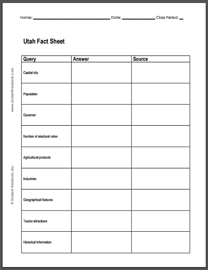 Utah Fact Sheet Notebooking Page - Free to print (PDF file).