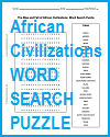 African Civilizations Word Search Puzzle