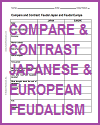 Compare and Contrast Japanese and European Feudalism Worksheet