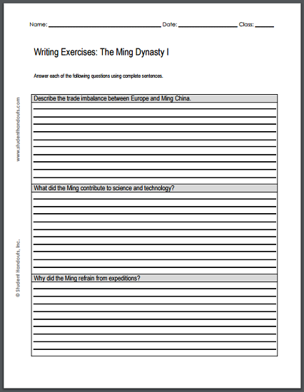 Ming Dynasty Essay Questions - Two free printable worksheets, each featuring three writing exercises.