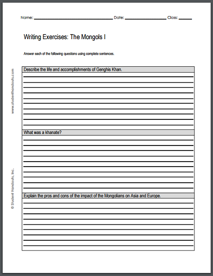 Mongolian Empire Essay Questions - Two printable worksheets with three writing exercises on each.