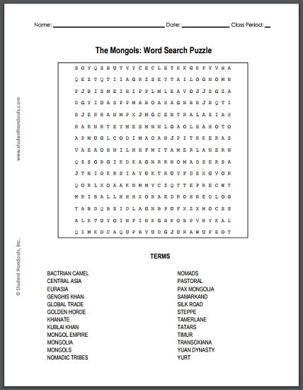 mongol empire worksheet the best and most comprehensive worksheets. Black Bedroom Furniture Sets. Home Design Ideas