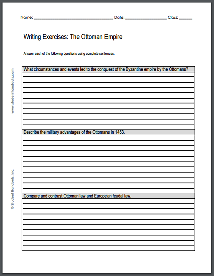 Ottoman Empire Writing Exercises - Free printable worksheet (PDF) with three short essay questions.