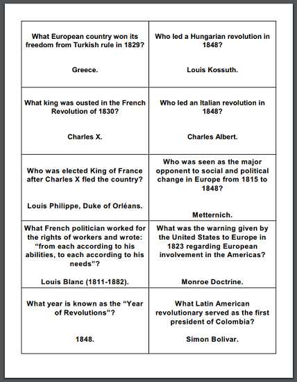 Age of Reaction Printable Flashcards - For high school World History students. Free to print (PDF files).