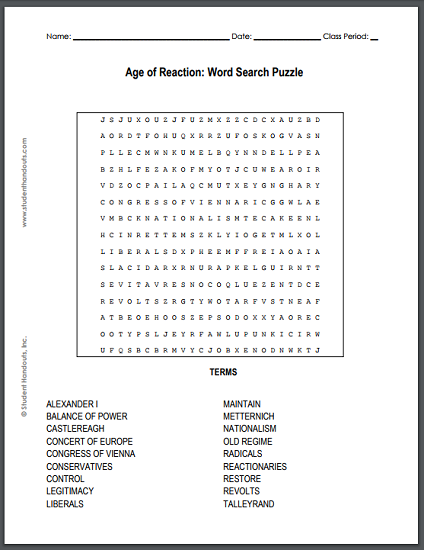 The Age of Reaction Word Search - Free to print (PDF file).