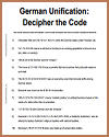 German Unification Decipher-the-Code Puzzle Worksheet