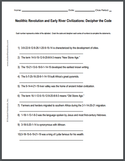 The Neolithic Revolution and Early River Valley Civilizations Decipher-the-code Puzzle Worksheet - Free to print (PDF file).