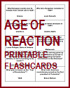 Age of Reaction Printable Flashcards