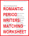 Romantic Period Writers Matching Worksheet