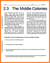 Middle Colonies Reading Worksheet for United States History