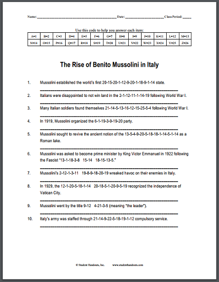 Rise of Benito Mussolini in Italy - Code puzzle worksheet for high school World History. Free to print (PDF file).
