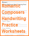 Romantic Composers Handwriting Practice Worksheets