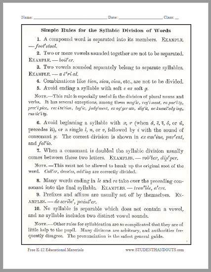 Simple Rules for the Syllabic Division of Words - Free to print (PDF file).