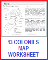 Thirteen Colonies Map Worksheet for Elementary