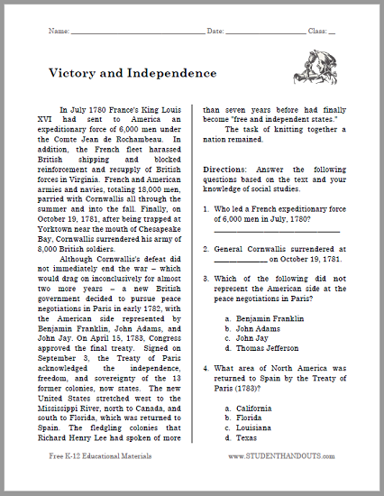 """Victory and Independence"" Reading with Questions for High School United States History"