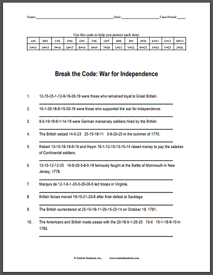The American War for Independence: Code Puzzle - Worksheet is free to print (PDF file).