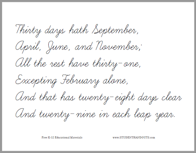 photo relating to Thirty Days Hath September Poem Printable referred to as 30 Times Hath September Printable Worksheets Pupil
