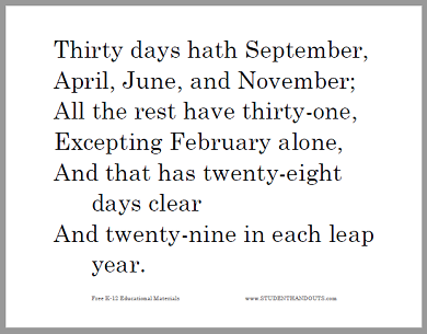 Thirty days hath September, April, June, and November; All the rest have thirty-one, Excepting February alone, And that has twenty-eight days clear And twenty-nine in each leap year.