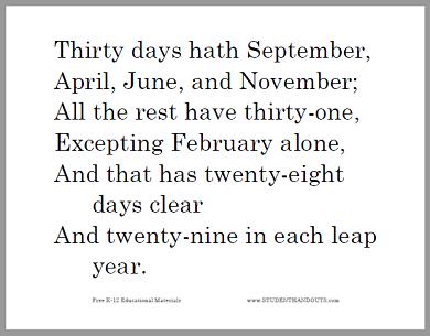 photograph relating to 30 Days Has September Poem Printable named 30 Times Hath September Printable Worksheets Scholar