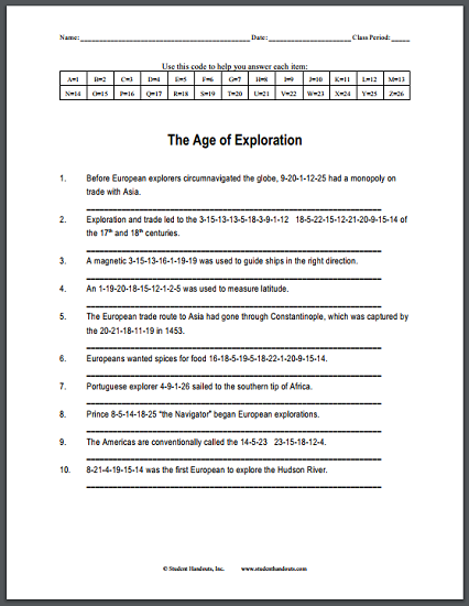 The Age of Exploration Code Puzzle Worksheet - Free to print (PDF file).