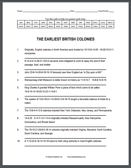 The Earliest British Colonies - Free printable decipher-the-code puzzle worksheet.