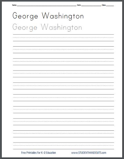 Free George Washington Handwriting Practice Worksheets - Print or Cursive