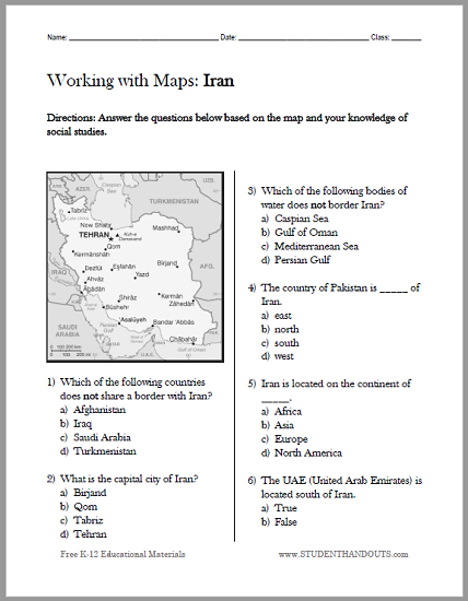 Iran Map Worksheet - Free to print (PDF file). Designed for students in grades four and up studying World Geography.
