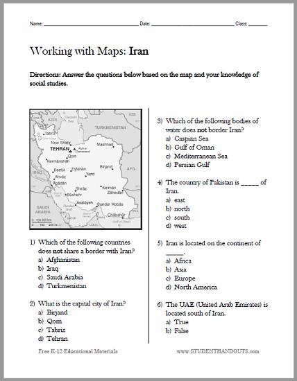 Political Map Worksheet.Iran Political Map Worksheet Student Handouts