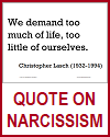 Lasch Quote on Narcissism