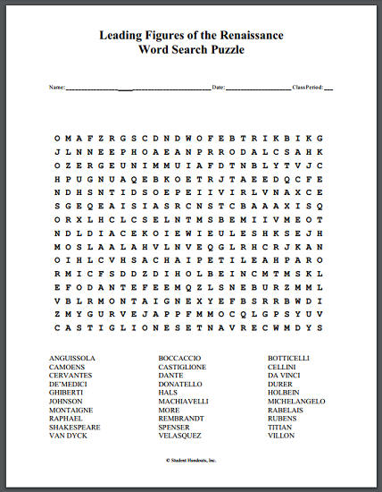 Leading Figures of the Renaissance Word Search Puzzle - Free to print (PDF file).