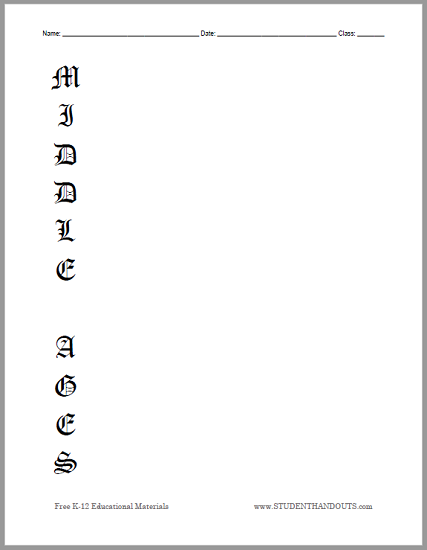 Middle Ages Acrostic Poem Blank Printable - Free to print (PDF file).