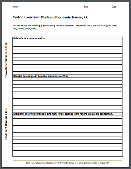 Writing Exercises Worksheet On Modern Economic Issues