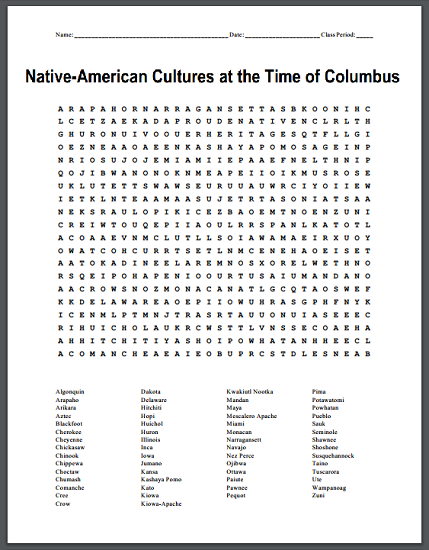 Native Americans of North America Free Printables