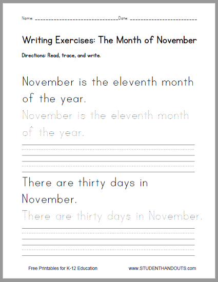 november handwriting practice worksheet student handouts. Black Bedroom Furniture Sets. Home Design Ideas