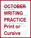 October Handwriting Practice Sentences Worksheets