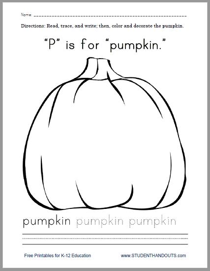 """P"" Is for ""Pumpkin"" Worksheet - Free to print (PDF file)."