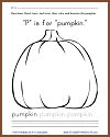 """P"" is for ""Pumpkin"" Worksheet"