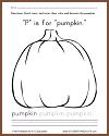 """P"" is for ""Pumpkin"" Worksheet"