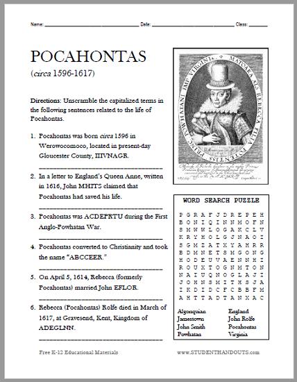 Pocahontas Bellwork Puzzle Worksheet - Free to print (PDF file).