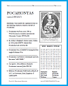 Pocahontas Bellwork Puzzle Worksheet